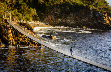 A girl is standing on the suspension bridge in Storms River Mouth national park in South Africa Wall mural