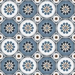 Arabesque octagonal floral seamless pattern background vector design