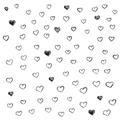Hand-drawn vector black heart shapes set.