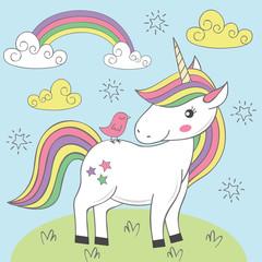 unicorn and bird on the meadow - vector illustration, eps