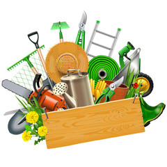 Vector Gardening Concept with Wooden Plank