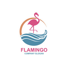 pink flamingo emblem with sun and waves