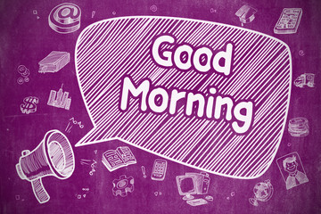 Good Morning - Doodle Illustration on Purple Chalkboard.