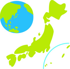 日本列島と地球のデフォルメイラスト