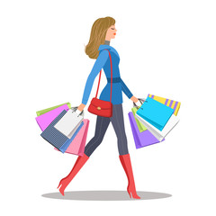 Shopping girl. Woman with colourful shopping bags. Sale and shopping concept. Vector illustration, eps 10.