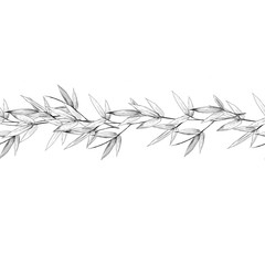 seamless strip of bamboo branches with leaves sketch vector graphics monochrome drawing
