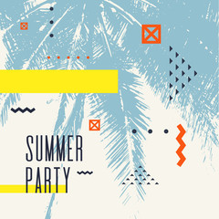 Modern poster with palm tree and geometric graphic.