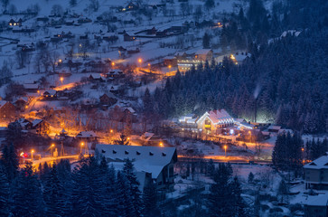 Carpathian alpine mountain village