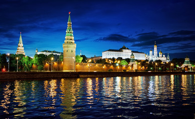 Russia, Moscow, night view of the River, Bridge and the Kremlin.