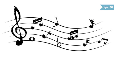 Realistic flowing musical notes, vector illustration