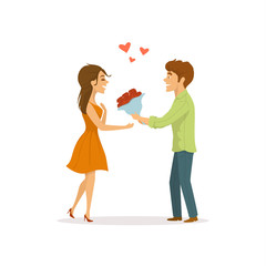 romantic couple in  love on a date, man surprises woman  with flowers cute cartoon vector illustration