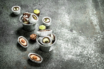 Chocolate candies in a bowls.