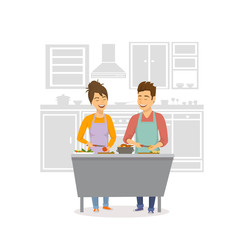 cheerful couple cooking dinner, preparing food together at home