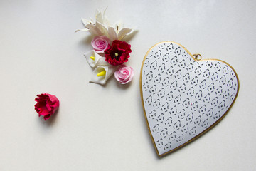Colorful flowers and heart with a pattern