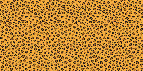 Leopard seamless vector pattern. Cheetah  orange, brown, black repeating texture. Seamless wallpaper, fashion textile background. Wild cat print.