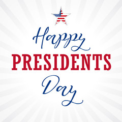 Happy Presidents Day USA lettering, star on light stripes. Calligraphic composition of Happy Presidents Day with star and text on beams. Vector illustration