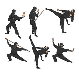 Set of japanese ninja warriors dressed in black with swords and other weapons. Vector illustration, isolated on white background.