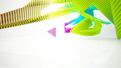 Abstract white and colored gradient parametric interior with window. 3D illustration and rendering.