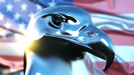 Adler aus Chrom vor amerikanischer Flagge 3D Illustration