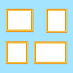 Blank picture frame template set. Vector flat photo frame