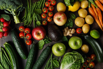 Assortment of tasty vegetables and fruits