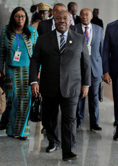 Gabon's President Ali Bongo Ondimba arrives for the 30th Ordinary Session of the Assembly of the Heads of State and the Government of the African Union in Addis Ababa