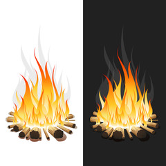 Illustration of Burning Bonfire with Wood on White and Black Background