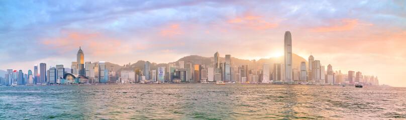 Hong Kong city skyline in China panorama