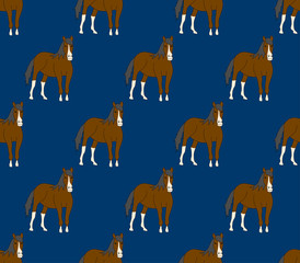 Brown Horse on Navy Blue Background