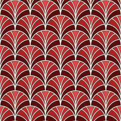Fish scale wallpaper. Asian traditional ornament with repeated scallops. Hand fan motif. Oriental seamless pattern