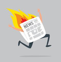 Newspaper running desperately on fire