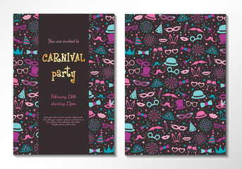 Carnival Party - two sided card with colourful texture. Vector.