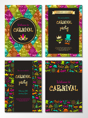 Carnival Party - set of colourful invitations. Vector.