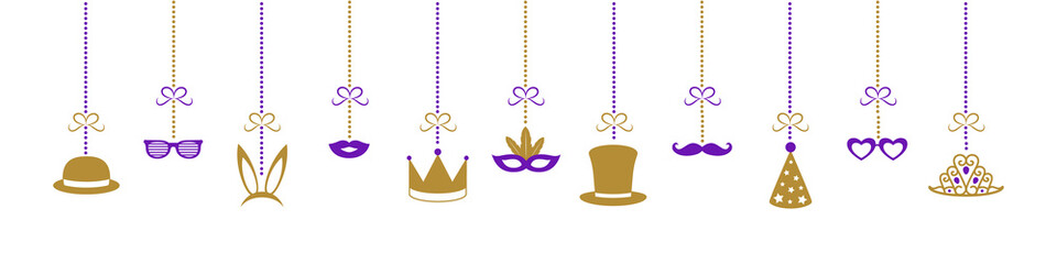 Hanging party decorations - carnival, party, birthday and photobooth. Vector.