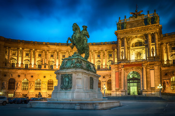 Statue of Emperor Joseph II. Hofburg palace in Vienna Austria - cityscape architecture background.