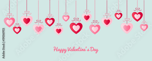 happy valentines day banner with paper cut hearts and wishes vector