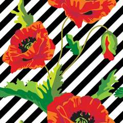 Seamless vector with poppy flowers on black and white stripes. Vintage floral background