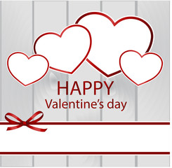 Valentine's Day background with hearts and with red ribbon and bow. Invitation, Greeting or Gift card.