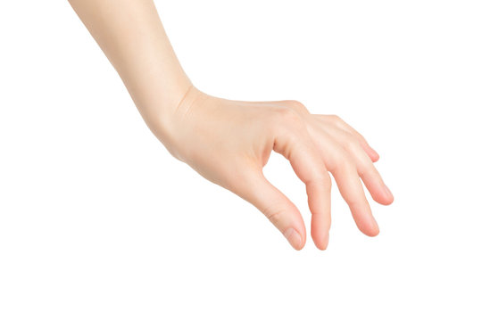 Closeup female hand making picking gesture isolated at white background.