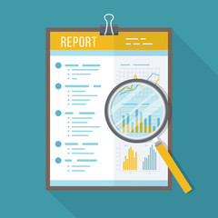 Business report, paper document with magnifying glass.  Isolated icon with long shadow. Charts graphs on a paper. Accounting, analysis, research, planning, audit, report, management. Vector