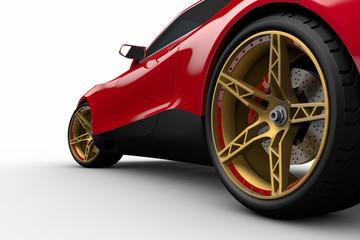 Roter Sportwagen auf weißen Hintergrund 3D Illustration