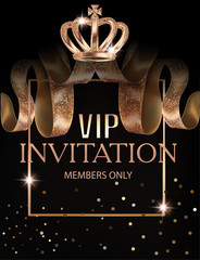 Beautiful VIP invitation banner with silk ribbons with pattern, crown and  frame. Vector illustration
