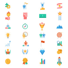 Motivation icons vector motivated business signs to inspire for achievement goals and success illustration of motivational set isolated on white background