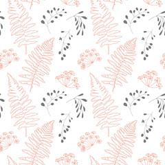 Vector botanical seamless pattern with  stylized berries, fern leaves and dill flowers.