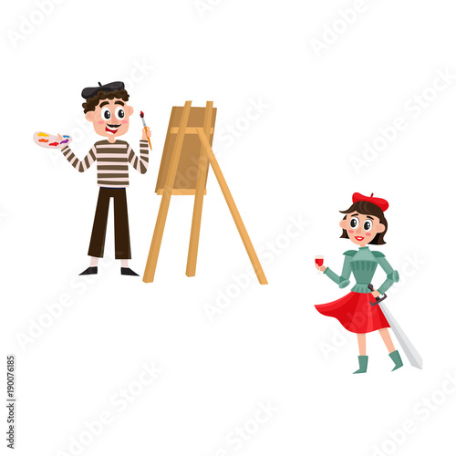 Vector Flat French Parisian Culture Traditional People Woman