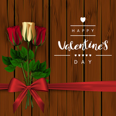 "A square brown wooden background with red and gold buds of roses on a green stem and a red bow. The festive inscription of the lettering ""Happy Valentine's Day"" Vector."