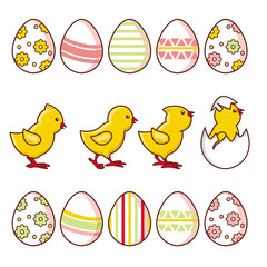 Set of baby chickens and decorated Easter eggs, hand-drawn vector illustration isolated on white background. Cute baby chicken characters and decorated eggs, collection of Easter decoration elements