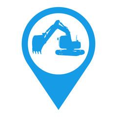 Icono plano localizacion silueta excavadora azul