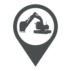 Icono plano localizacion silueta excavadora gris