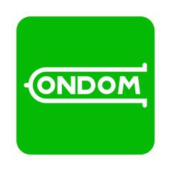 Icono plano logotipo CONDOM en cuadrado verde